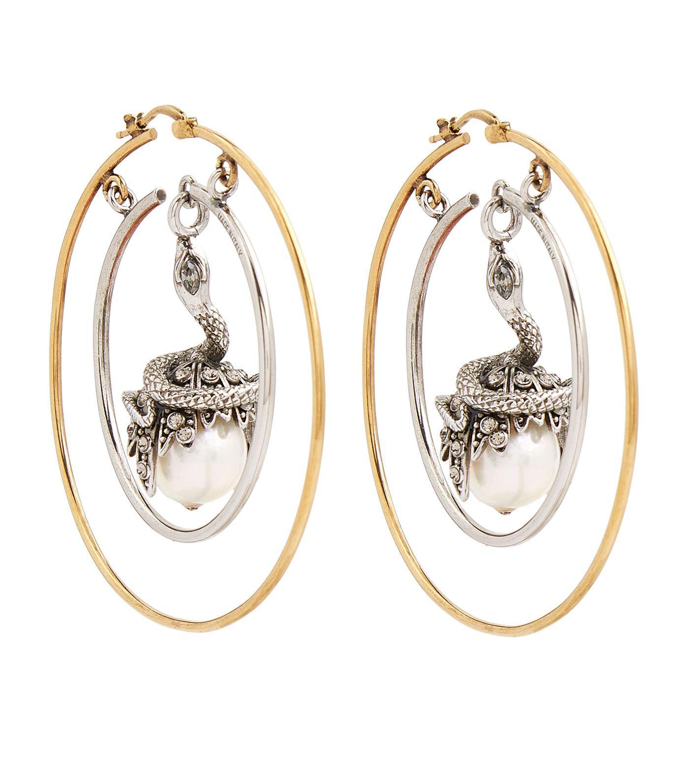 Faux-pearl drop hoop earrings Alexander McQueen d1sC3