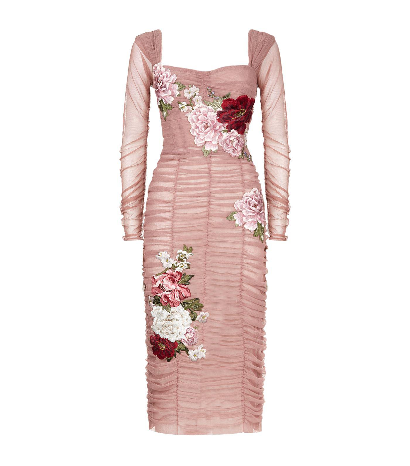 cdbcfa03ab2a Dolce   Gabbana Ruched Tulle Midi Dress in Pink - Lyst
