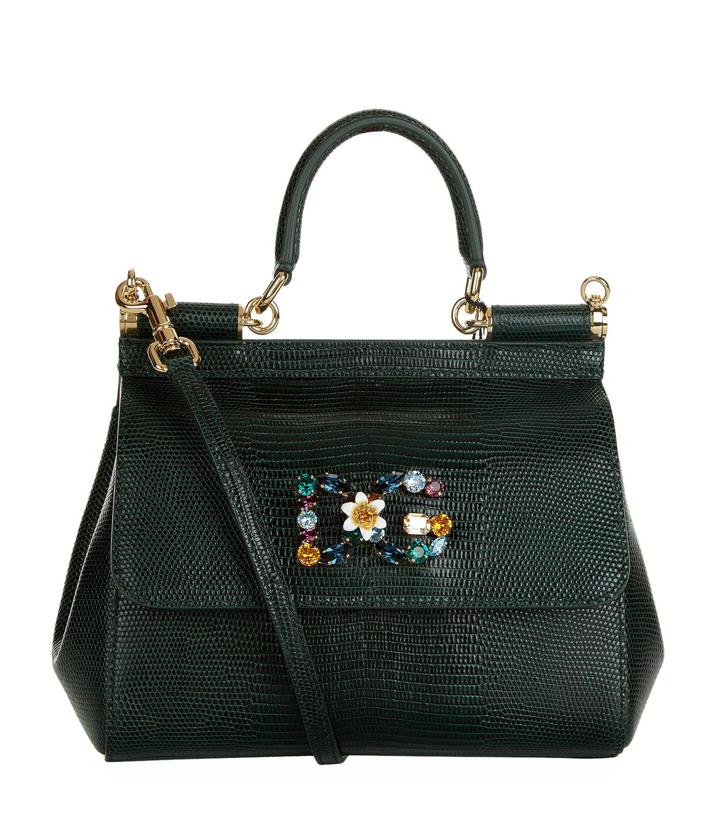 Dolce   Gabbana. Women s Black Small Leather Iguana Print Sicily Bag a545782abb5d3