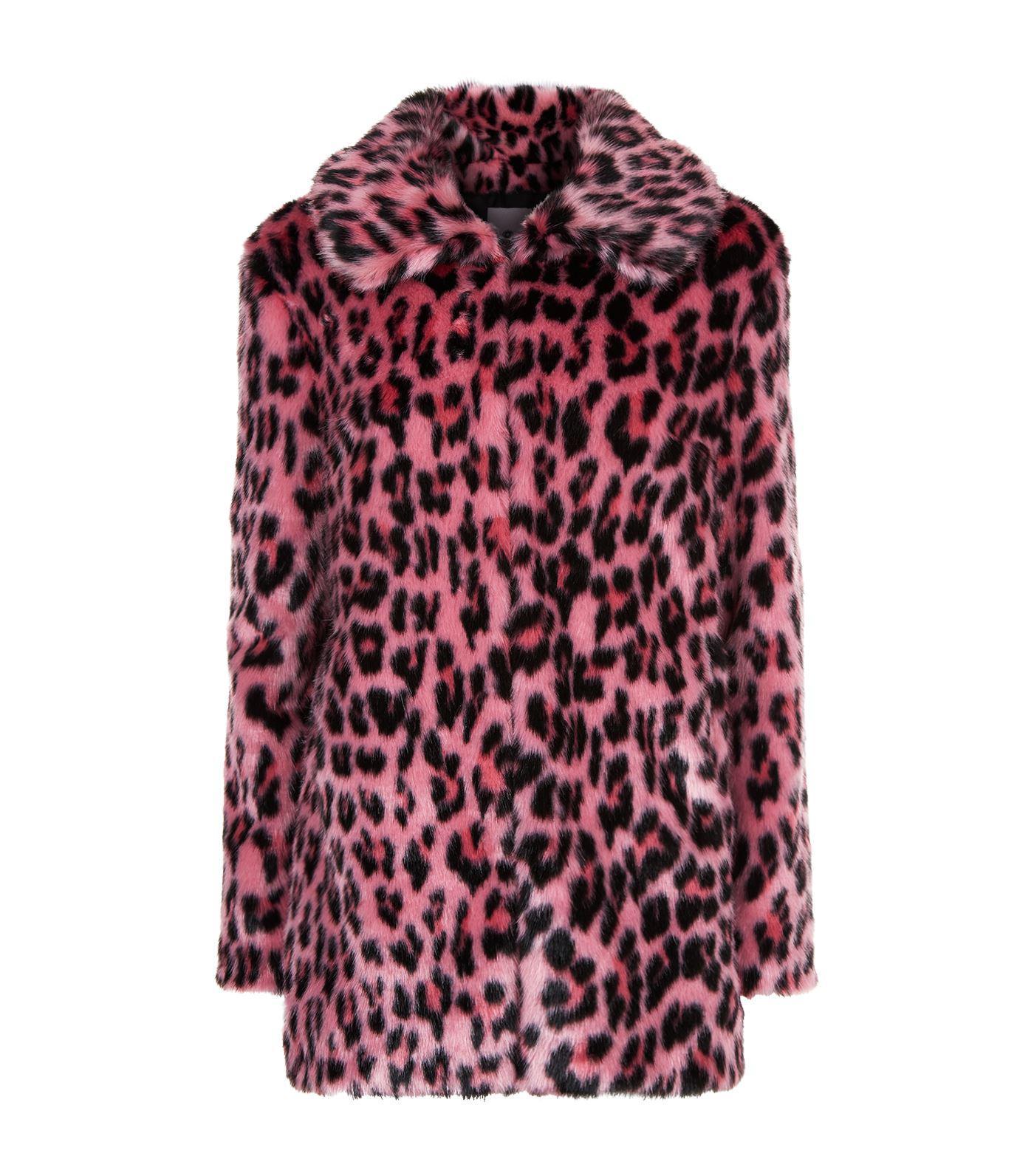 ebf20e7d00dc Pinko Leopard Print Faux Fur Pea Coat in Red - Lyst