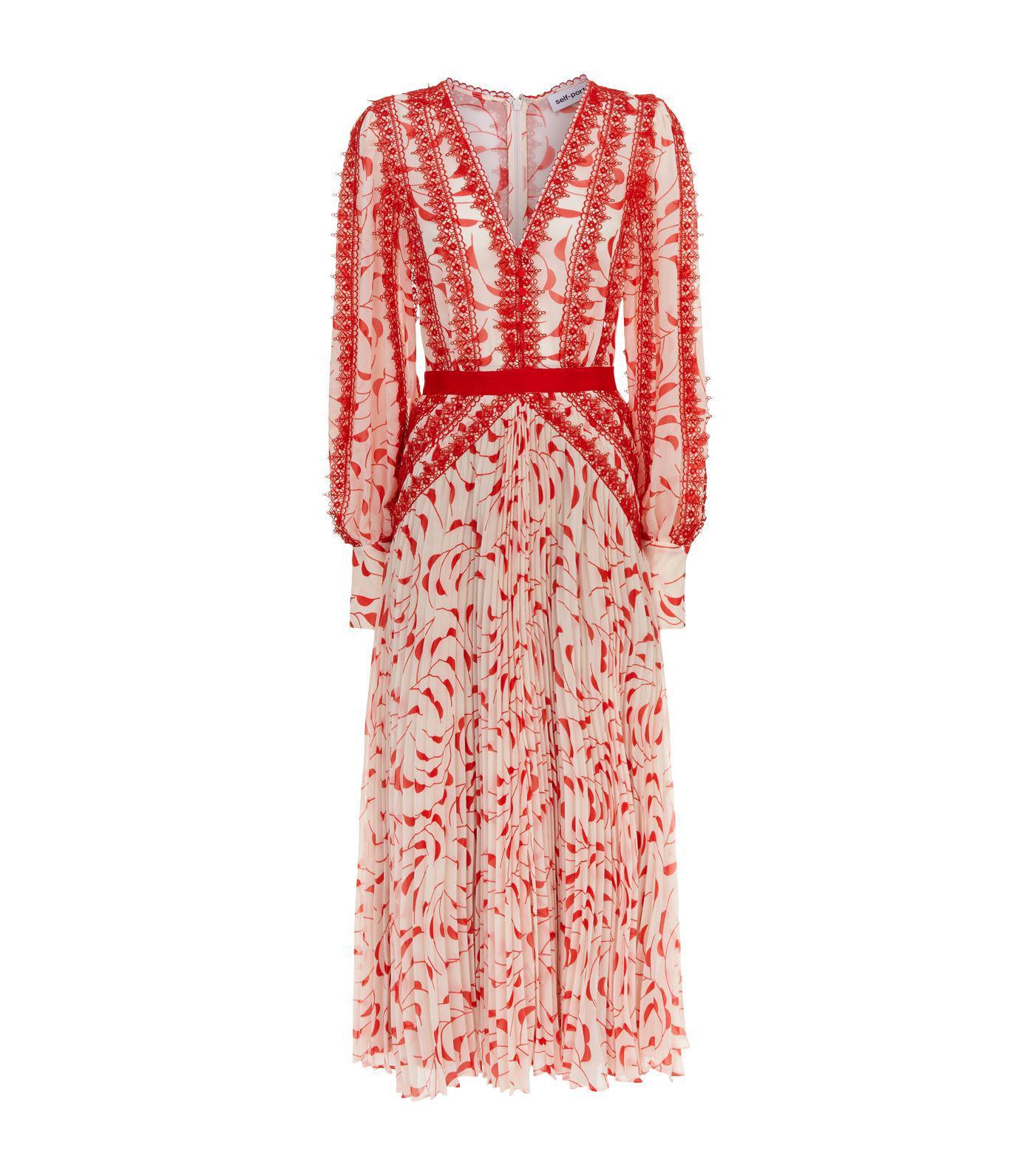 9b93d3805a105 Self-Portrait Printed Chiffon Lace Pleated Long-sleeve Midi Dress ...