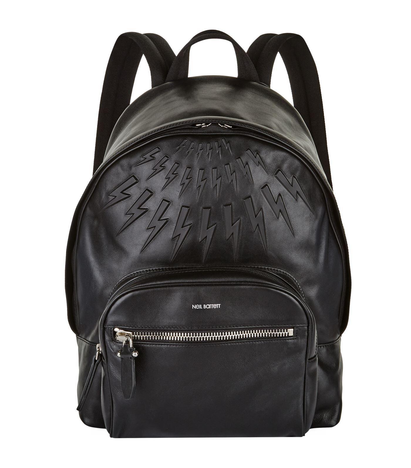 Neil Barrett Lightning-bolt embossed leather backpack For Sale Cheap Online ZHiBYY