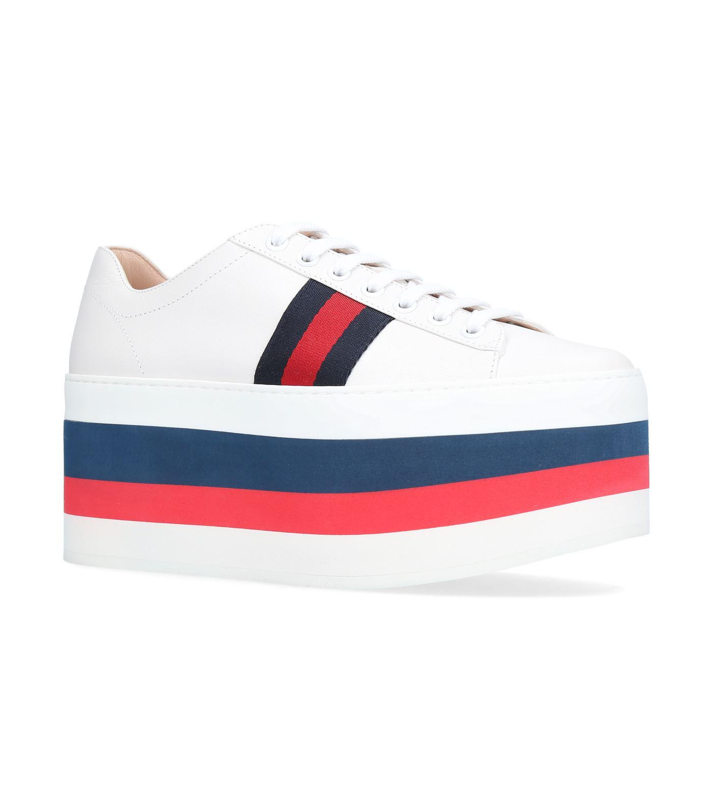 7c7950412b5 Lyst - Gucci Peggy Stripe Platform Sneakers in White - Save 16%