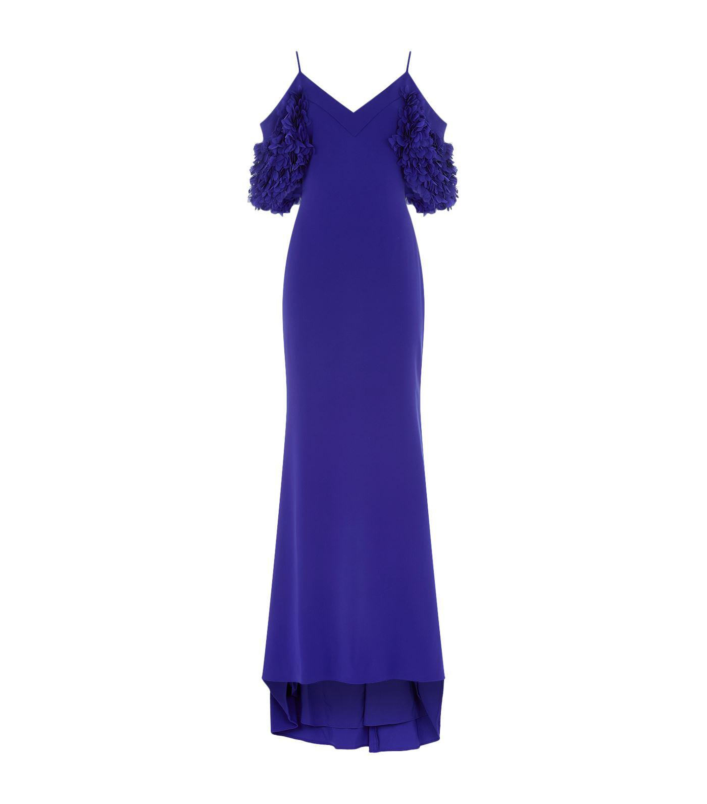 Lyst - Badgley Mischka Petal Cold-shoulder Sleeve Gown in Blue