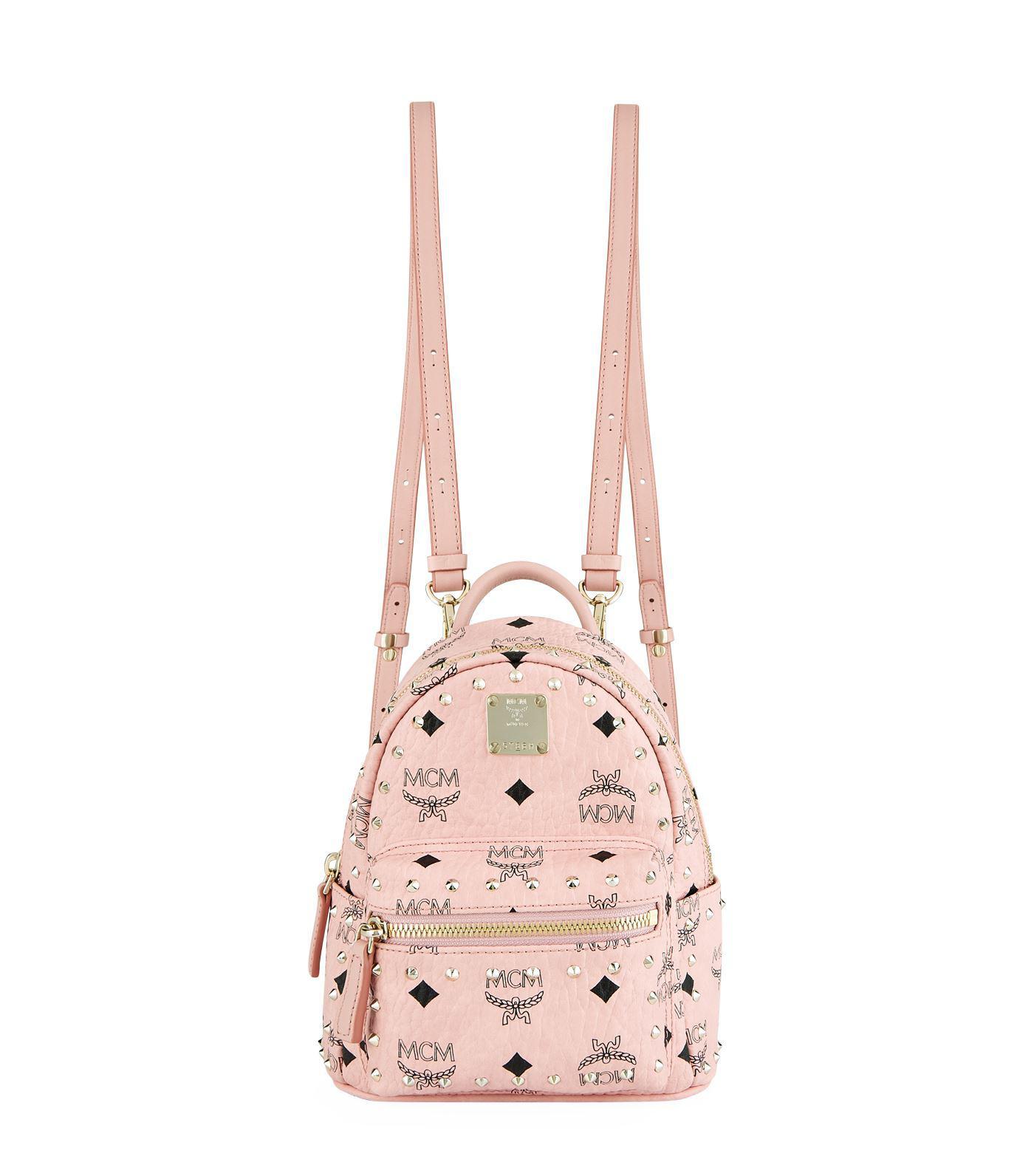5a025a3f5f65 MCM - Pink X-mini Studded Stark Backpack - Lyst. View fullscreen