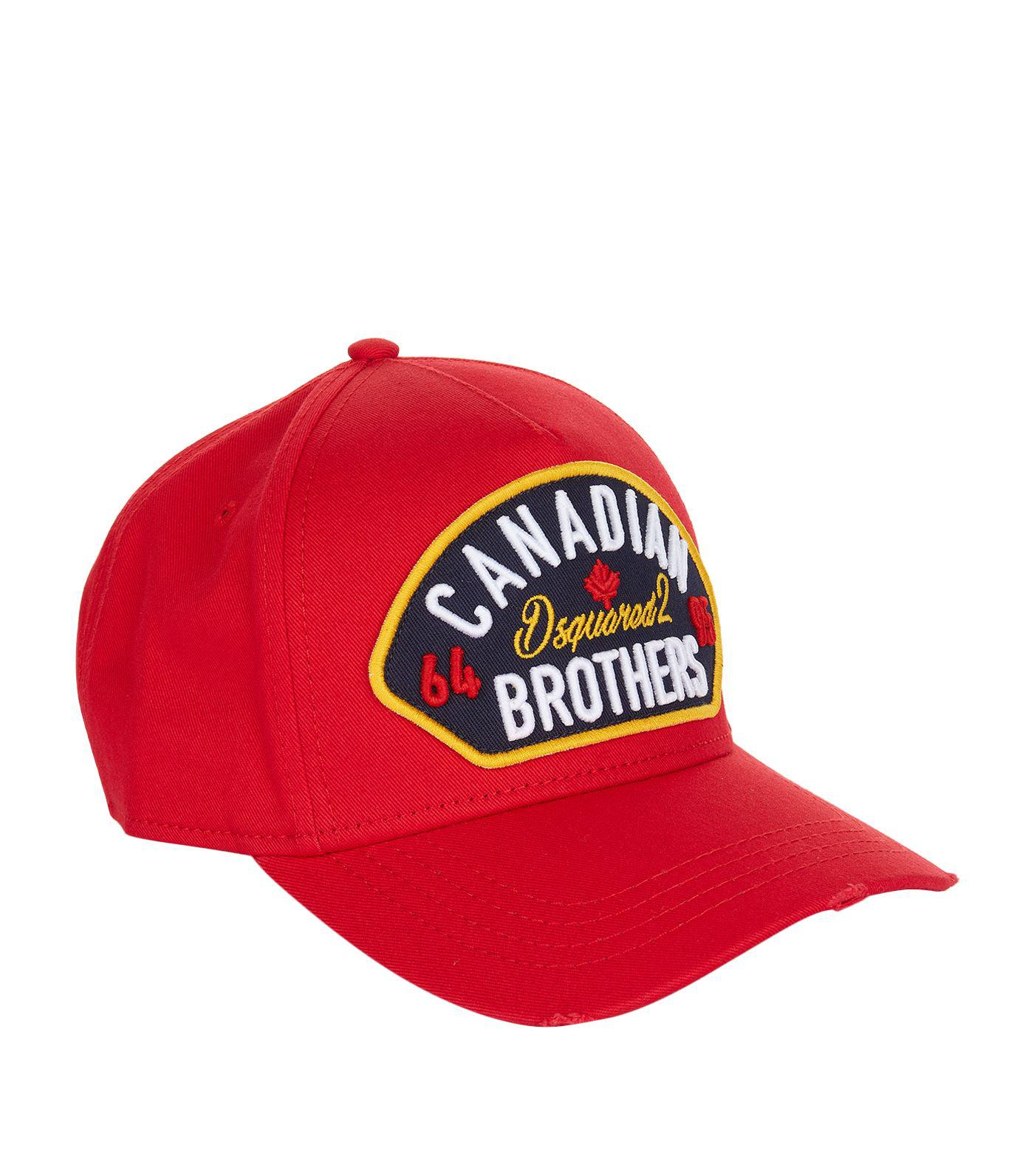 DSquared² Canadian Brothers Cap in Red for Men - Lyst 28aa9199812