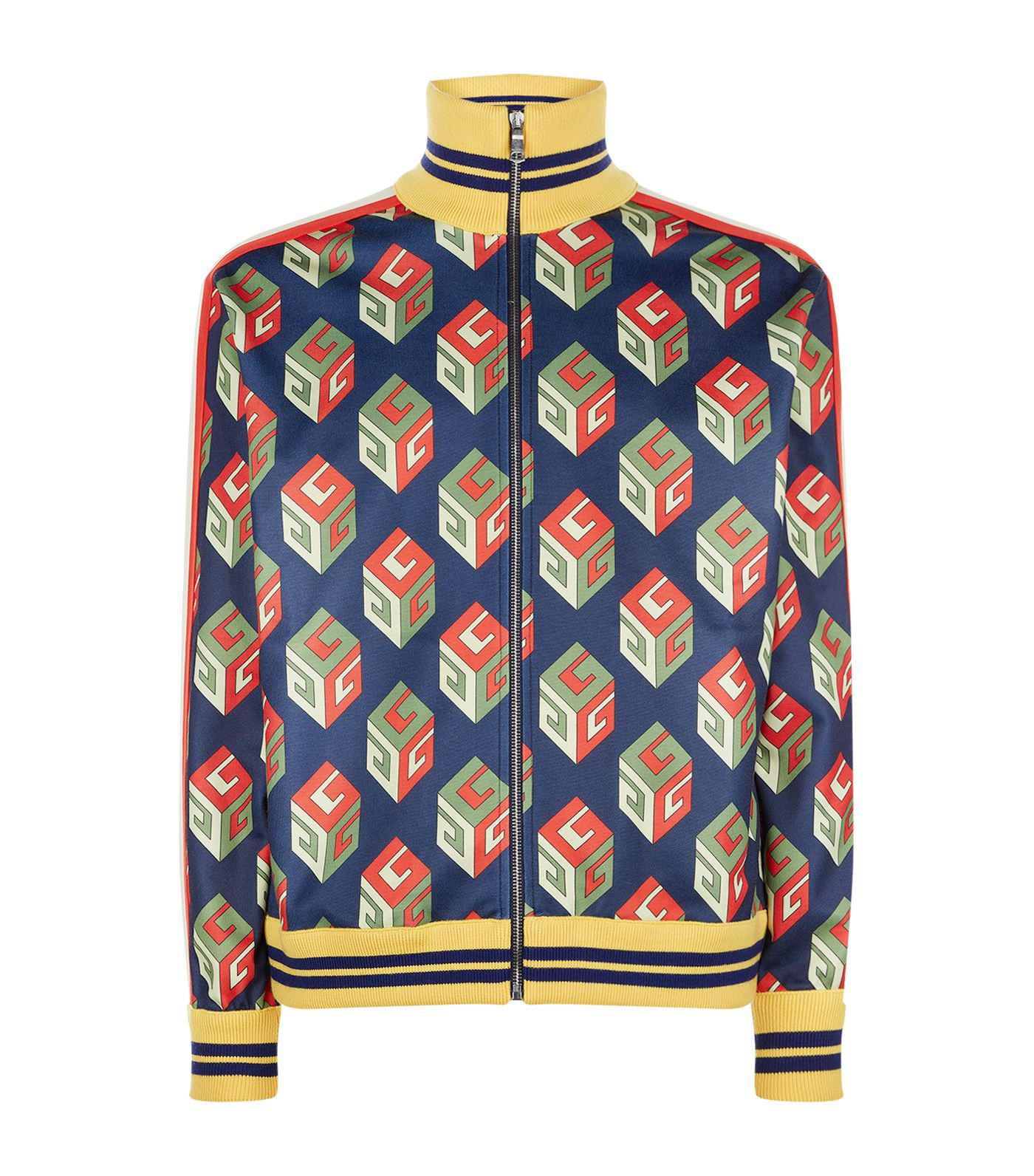 Gucci Gg Wallpaper Technical Jersey Jacket In Blue For Men Lyst