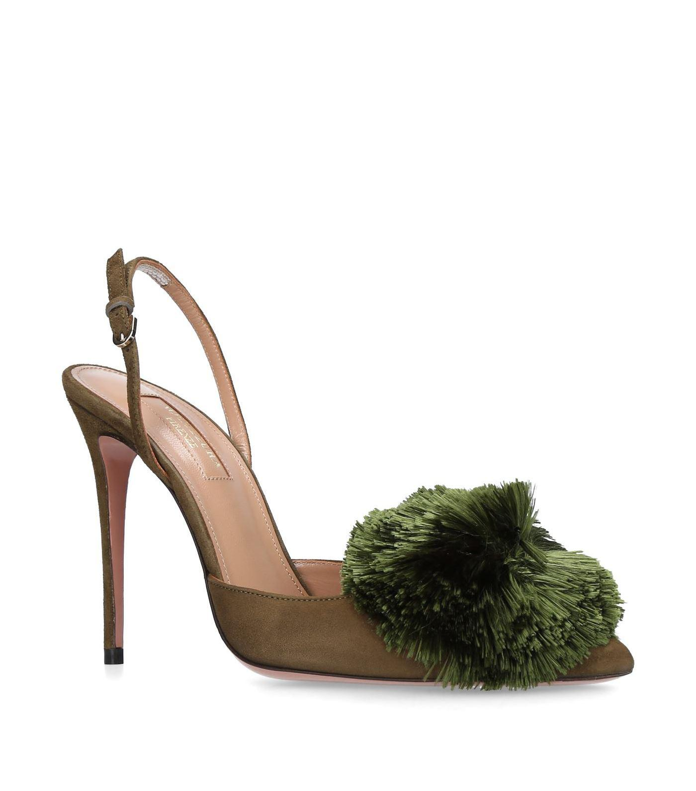 7389bdfd0 Aquazzura Powder Puff Slingback Pumps 105 in Green - Lyst