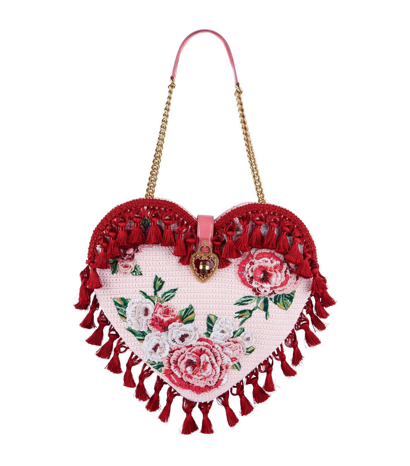 Dolce   Gabbana My Heart Embellished Crochet Bag in Red - Lyst 4da46f364cdc8