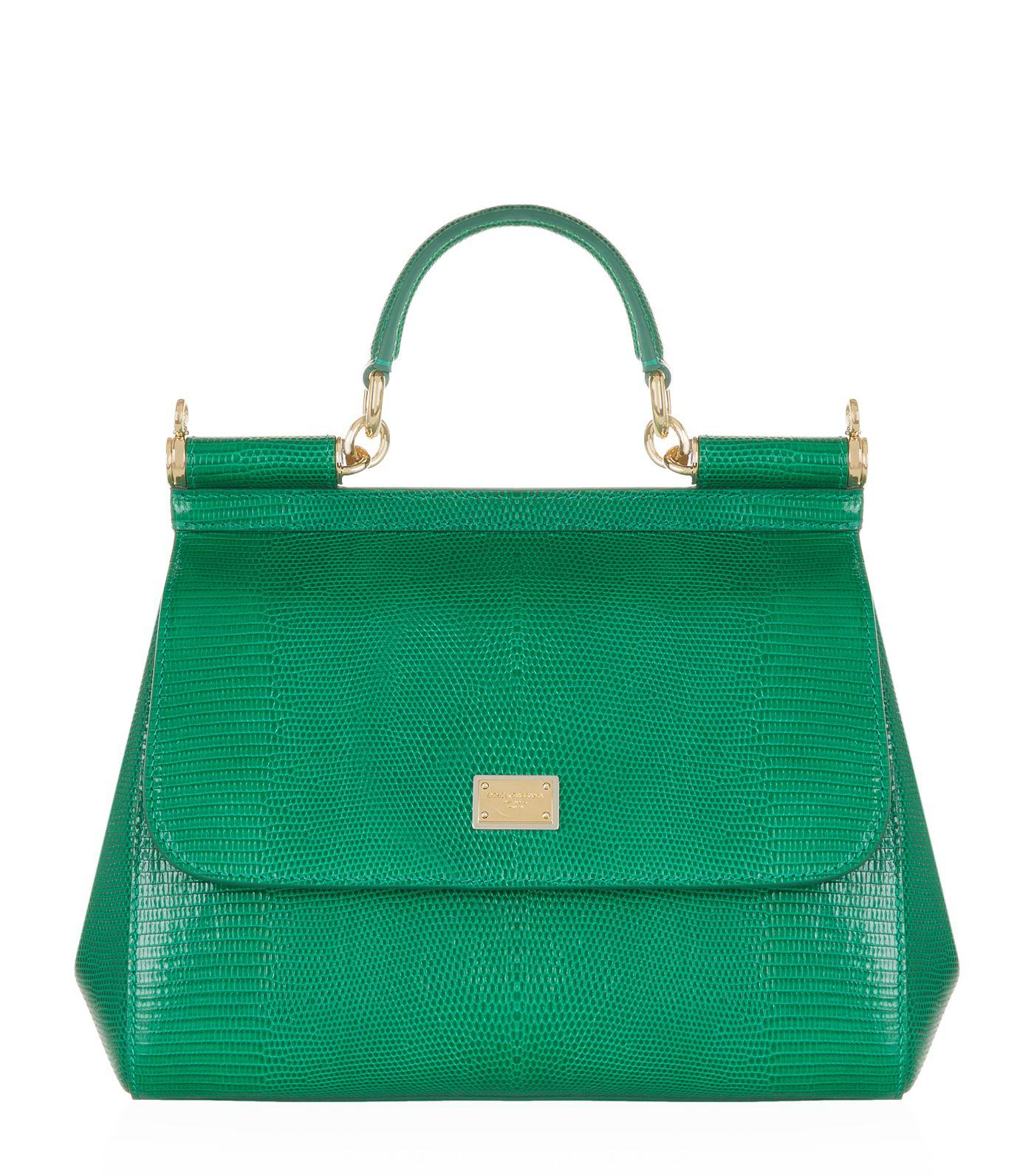 Dolce   Gabbana - Green Medium Sicily Iguana Print Top Handle Bag - Lyst e74a2697dc488