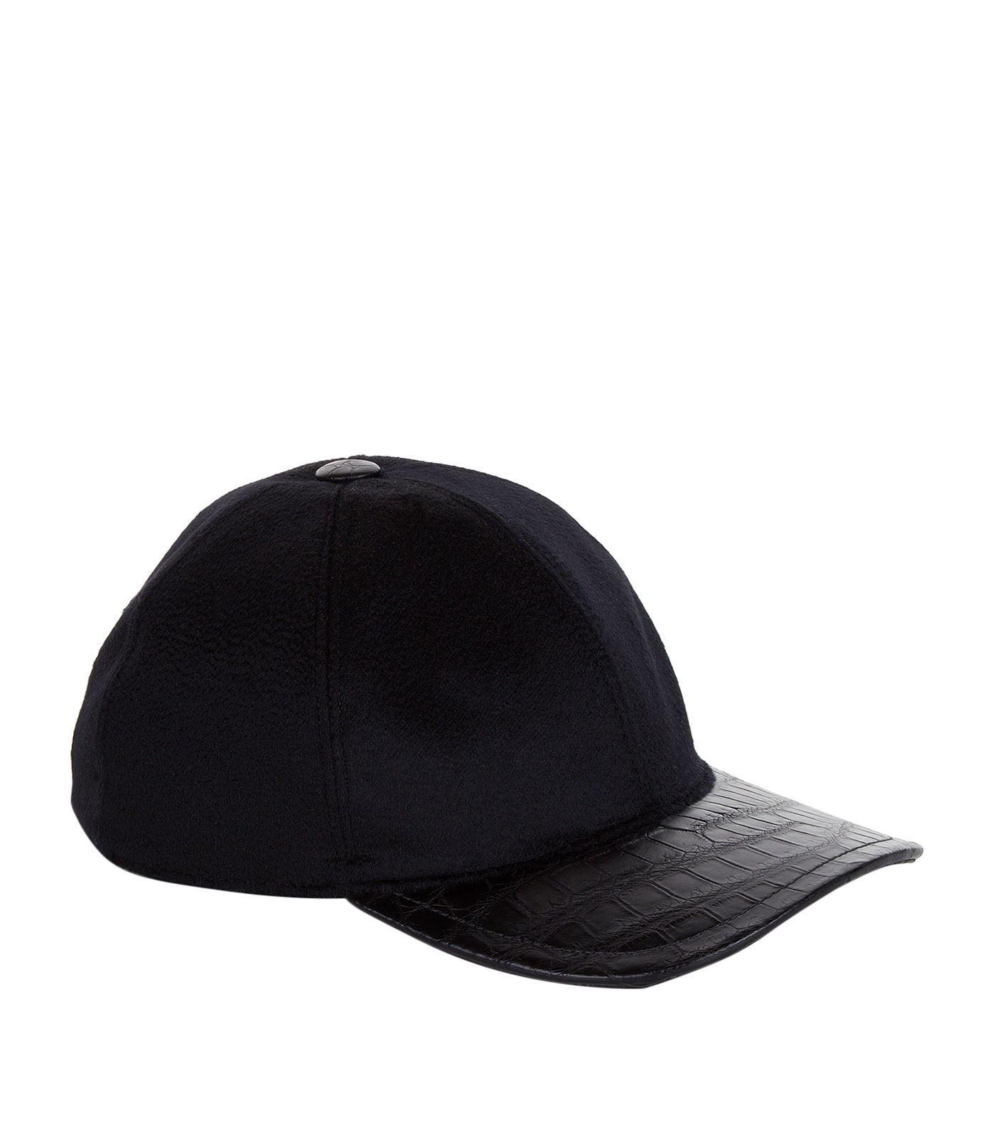 Lyst - Stefano Ricci Cashmere And Crocodile Skin Cap in Black for Men a9cea2331a03