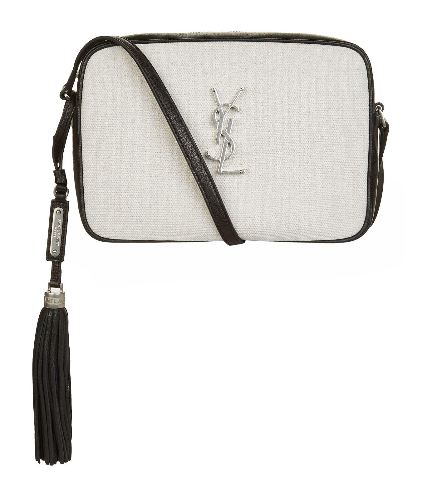 1a64a04756e Saint Laurent Lou Camera Bag Linen Canvas/leather White in White - Lyst