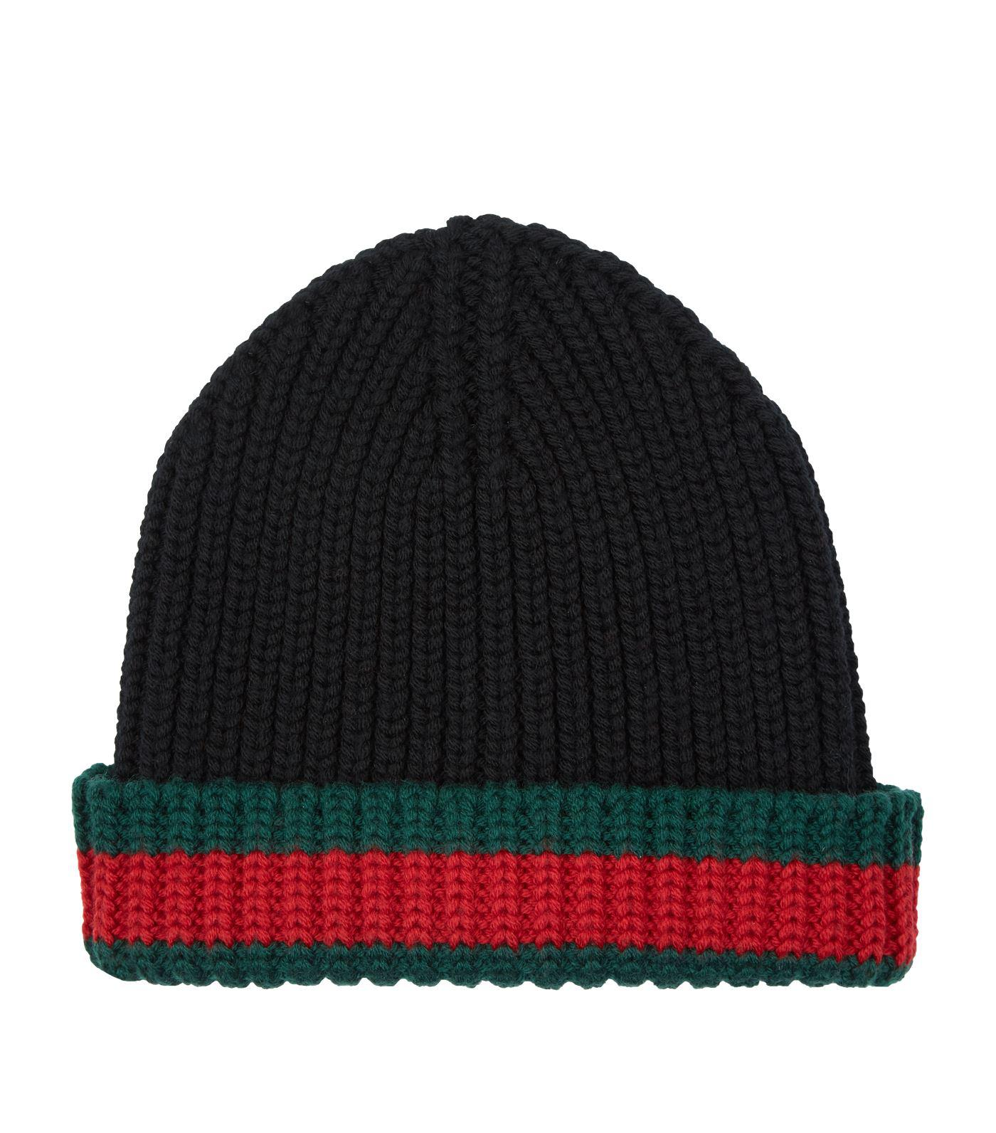 b8eadde2434 Gucci Wool Striped Beanie Hat in Black for Men - Lyst
