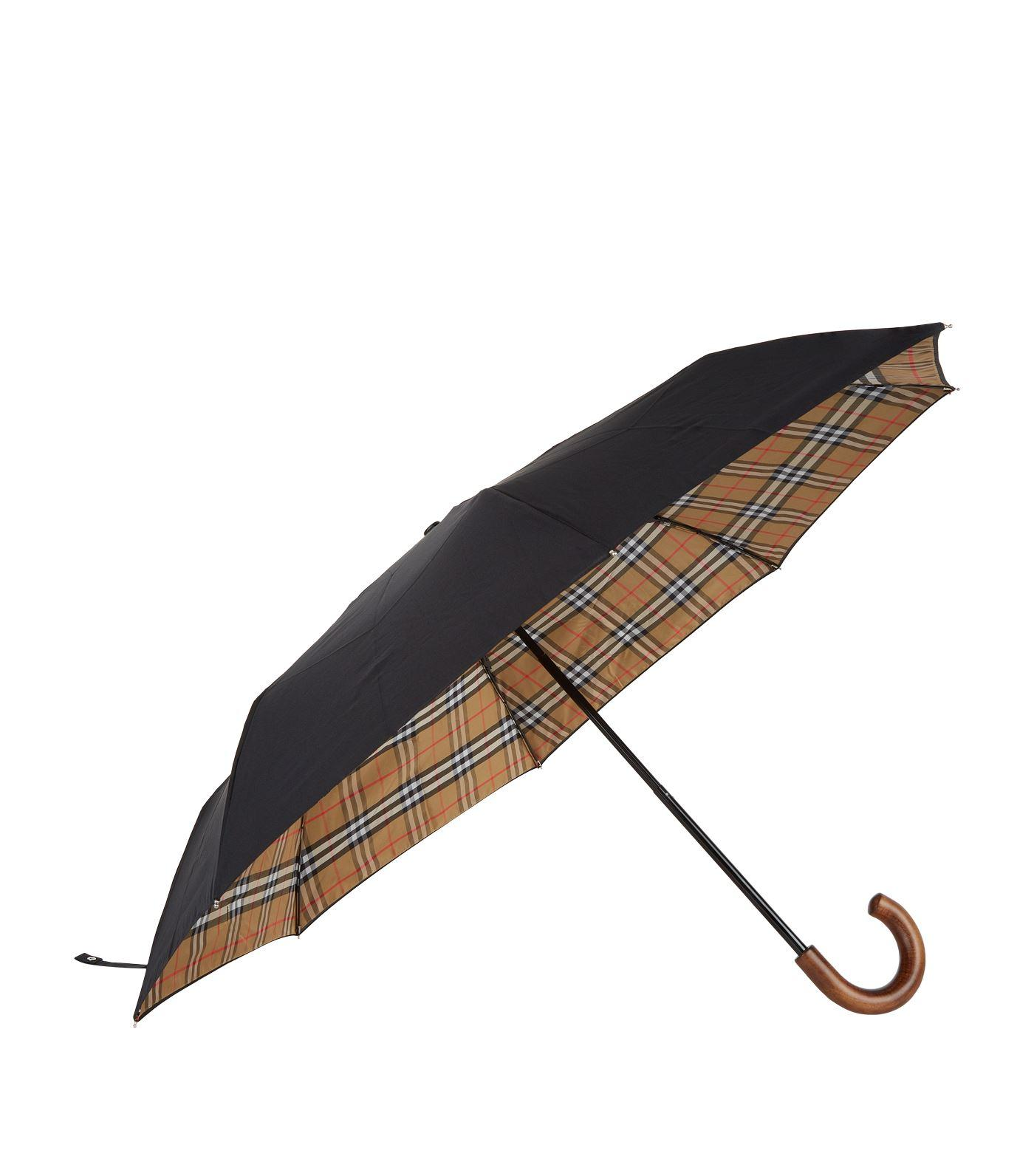 4416e041e06 Burberry Vintage Check Umbrella in Black - Lyst