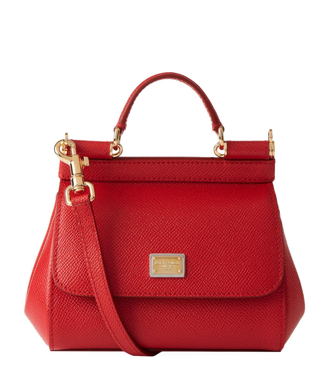 Lyst - Dolce   Gabbana Mini Leather Sicily Bag in Red 4e644f45ccba8