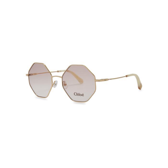 feb21674d90 Chloé Poppy Hexagon-frame Optical Glasses in Metallic - Lyst