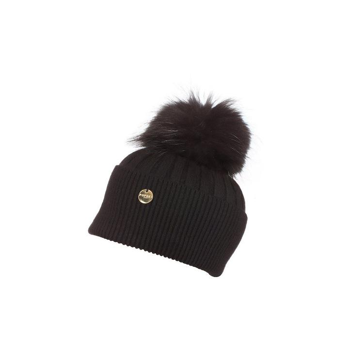 5fb0d2c9377 Popski London Angora Pom Pom Hat in Black - Lyst