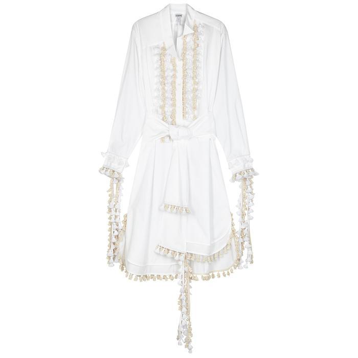 a7977ebb07d Loewe White Pompom-embellished Shirt Dress in White - Lyst