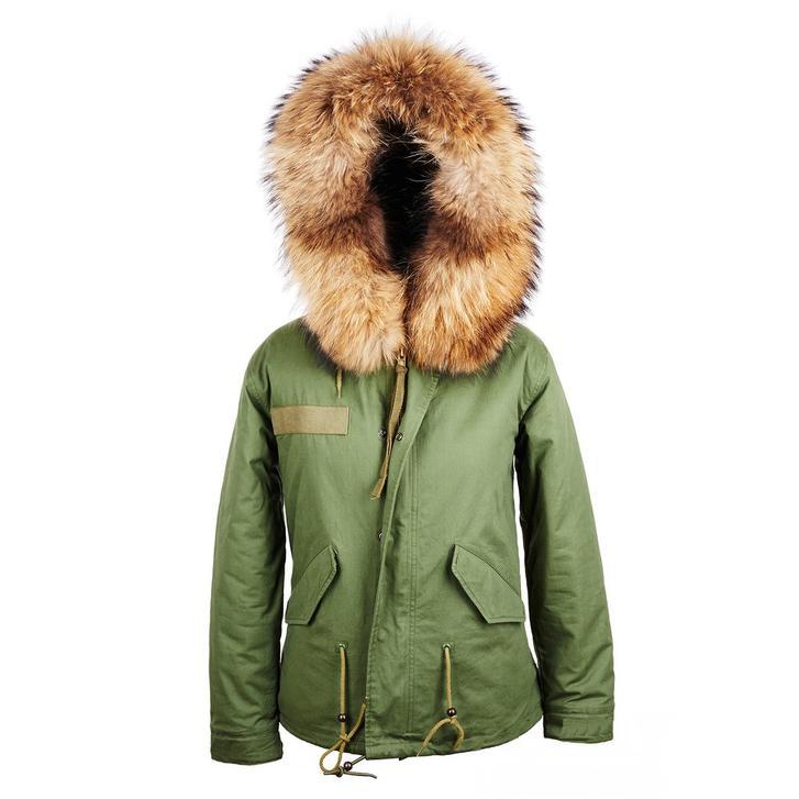 dec7747f3b91 Popski London Raccoon Parka Fur Collar in Natural - Lyst