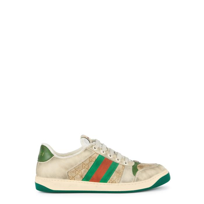 429cf89d4 Gucci Screener GG Distressed Leather Trainers in Green for Men ...