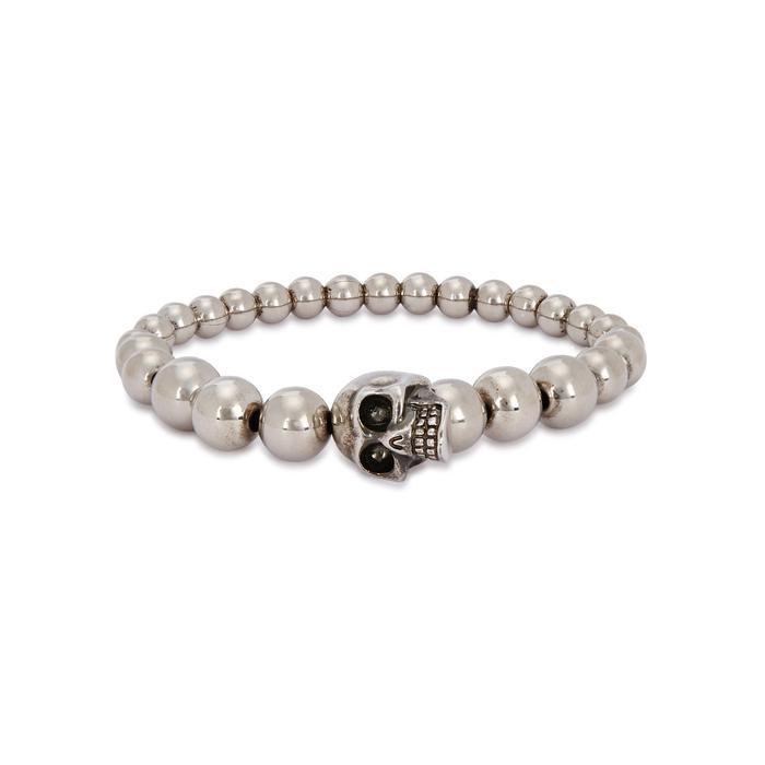 Silver-tone Beaded Skull Bracelet Alexander McQueen UnSrrO6t9z