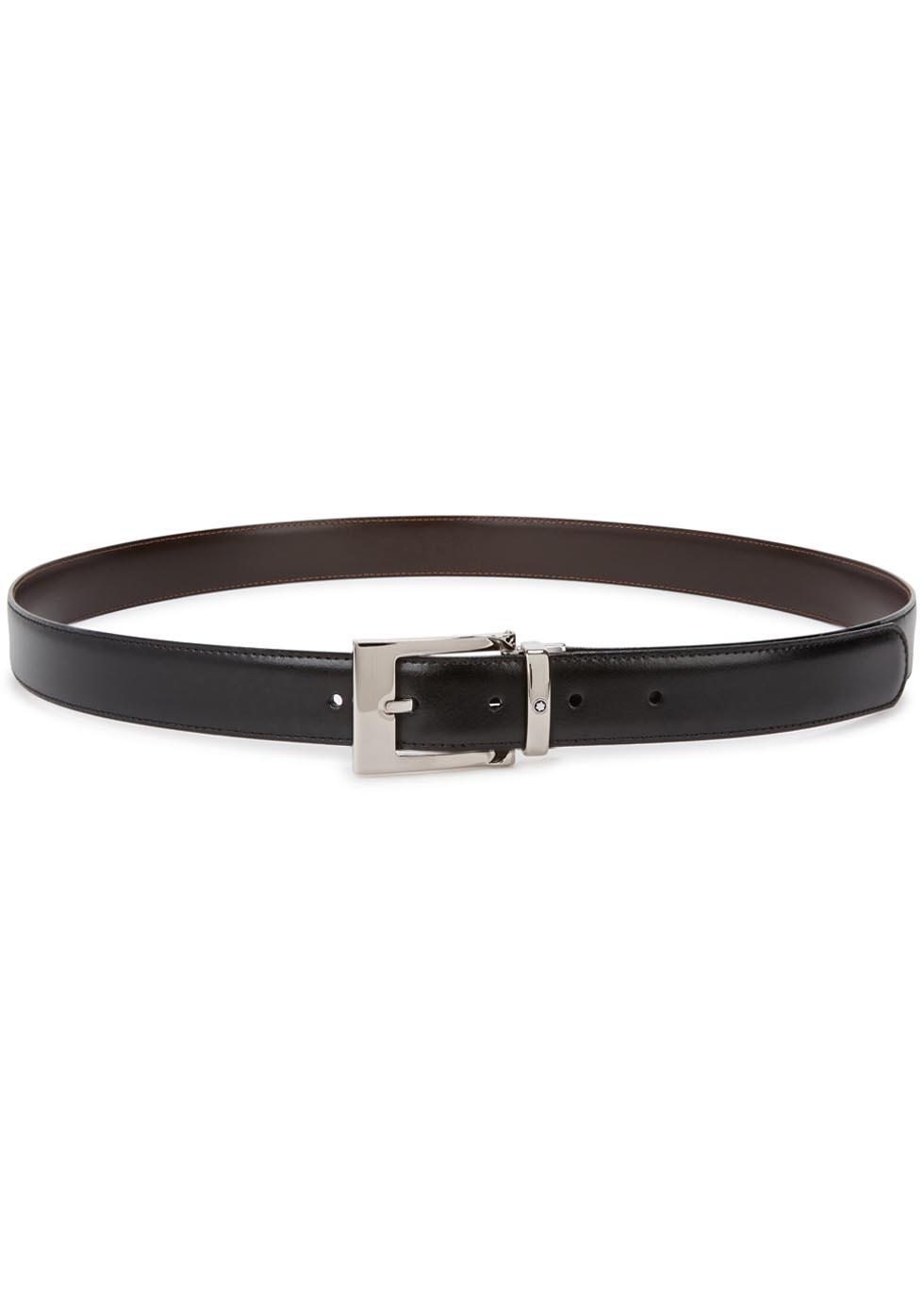 montblanc black reversible leather belt in black lyst