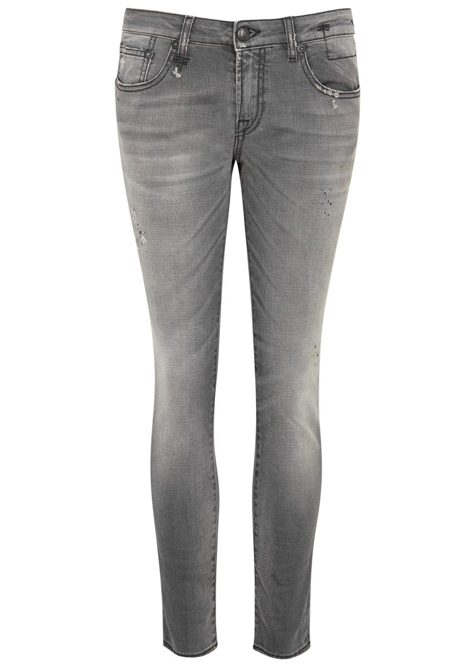 r13 kate grey distressed skinny jeans in gray  lyst