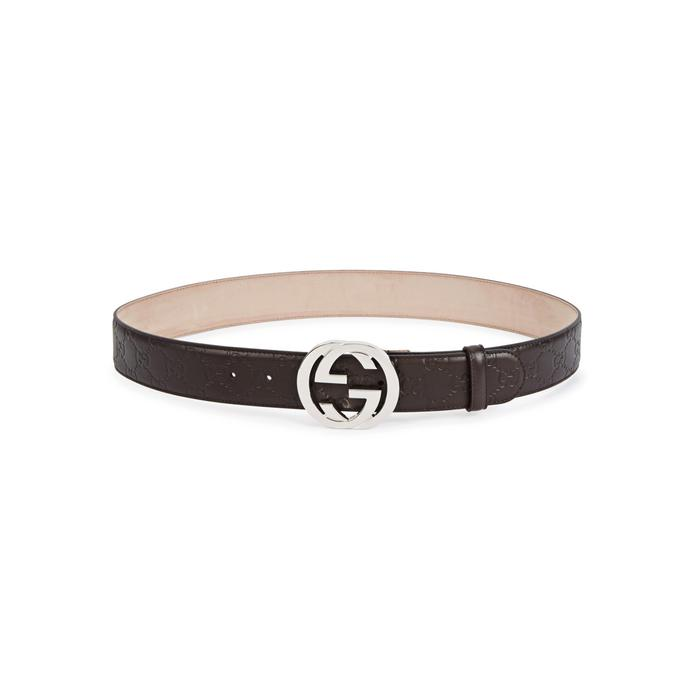 b2ebac3cb Gucci GG Brown Monogrammed Leather Belt in Brown for Men - Lyst