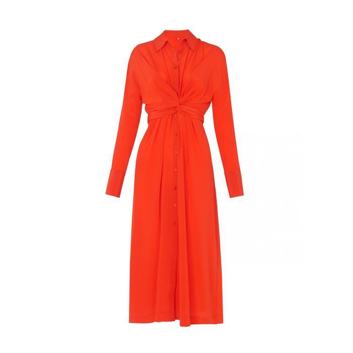 b828bad0ed Kitri Phoenix Silk Shirt Dress in Red - Lyst