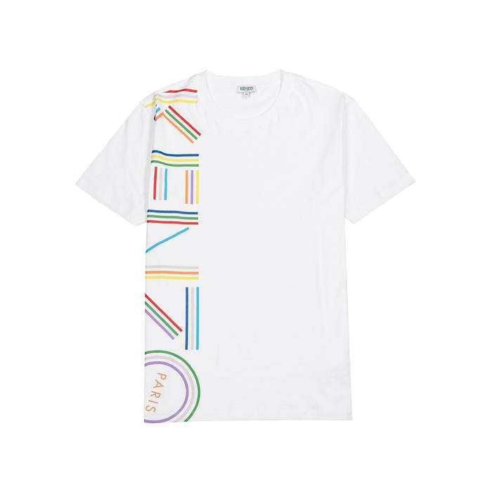 d0932071 KENZO Logo Print White Cotton T-shirt in White for Men - Save 34% - Lyst