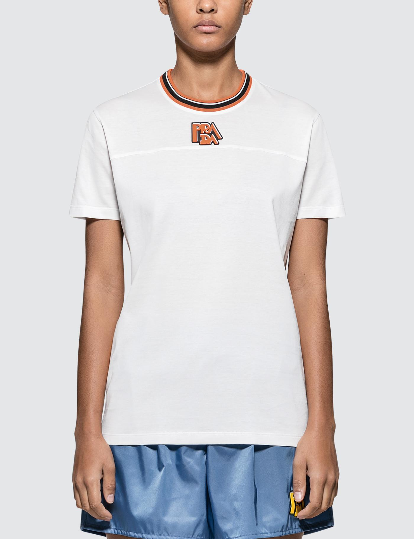 54c4ae147885 Lyst - Prada Logo Short Sleeve T-shirt in White
