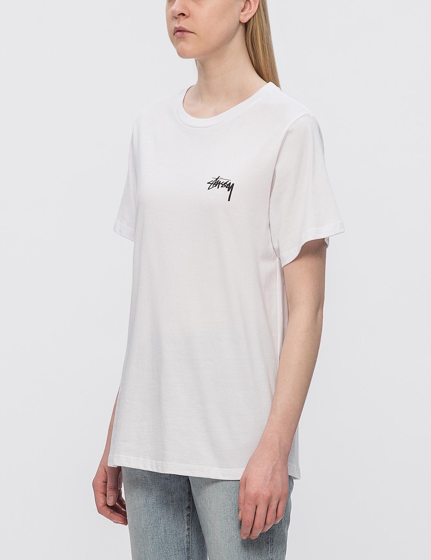 Anthropologie Founder Lyst Stussy Surfman Check Boyfriend T Shirt In White