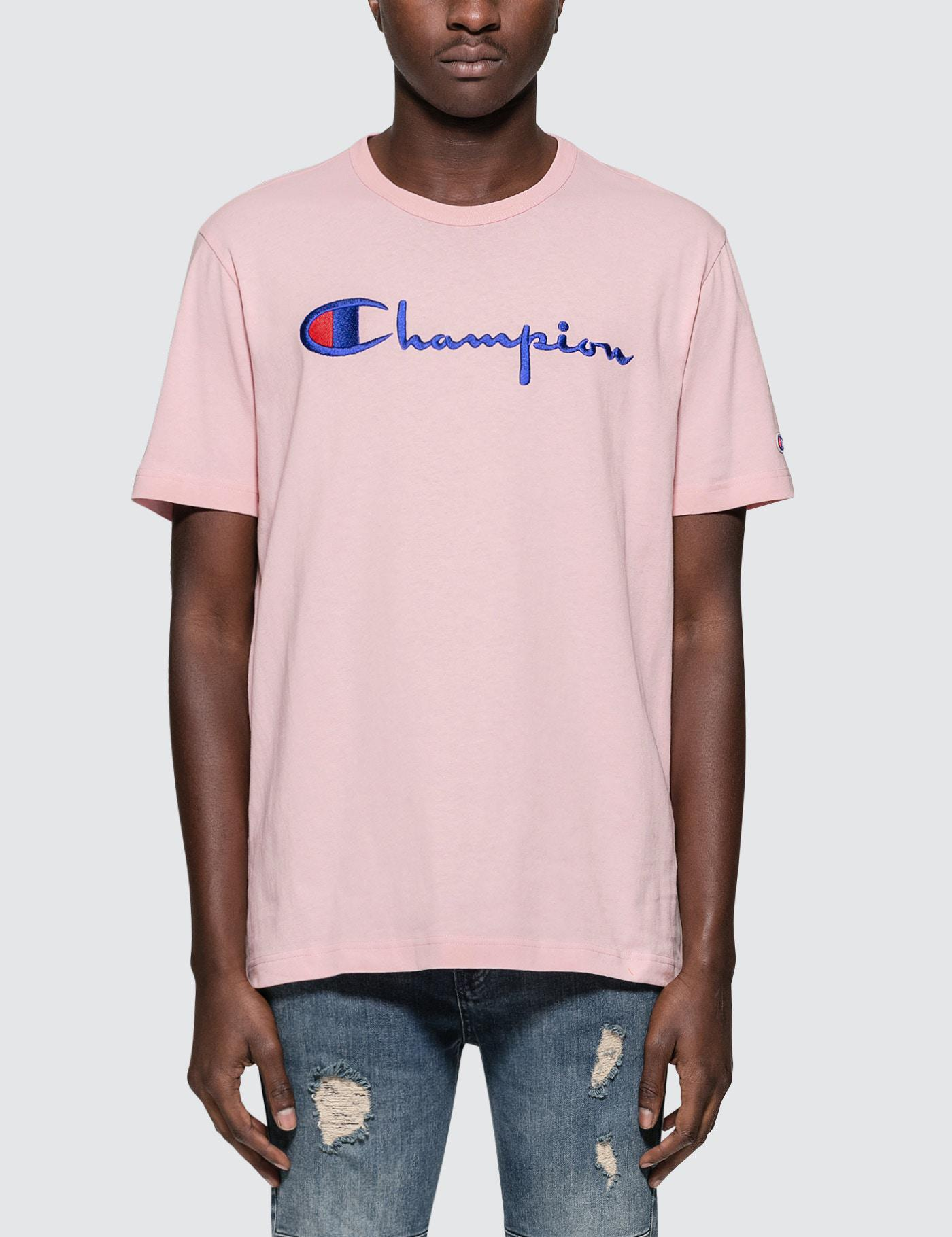 4c5f1a4f9b5e Champion Script Logo S/s T-shirt in Pink for Men - Lyst