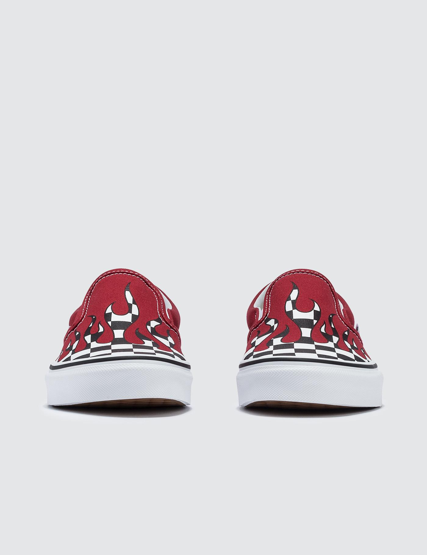 cd4adaee3c7b Lyst - Vans Checker Flame Classic Slip-on in Red