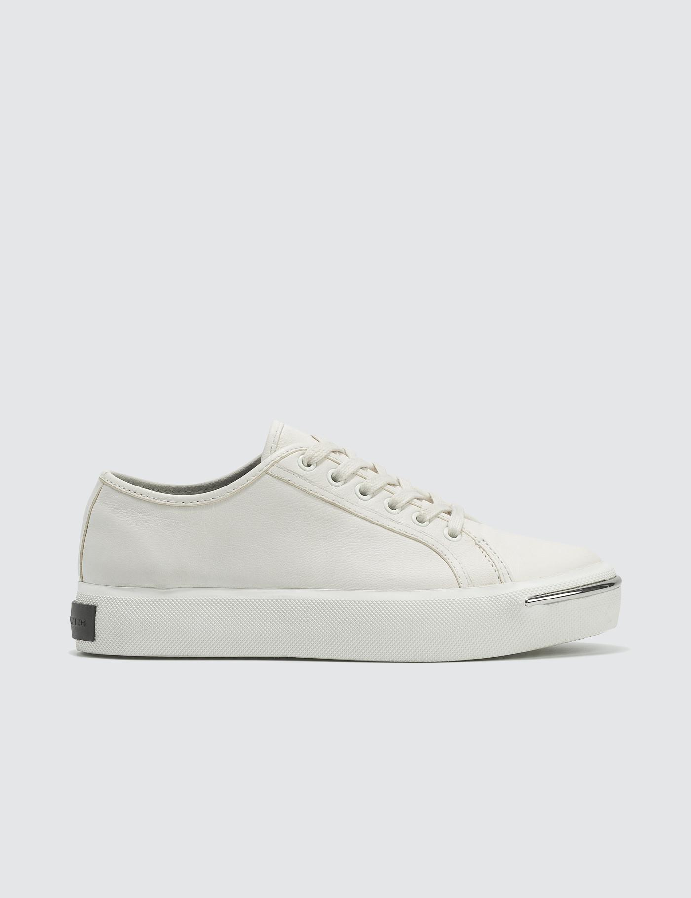 3a11eb5015d6 Alexander Wang Pia Low White Leather Sneakers in White - Lyst