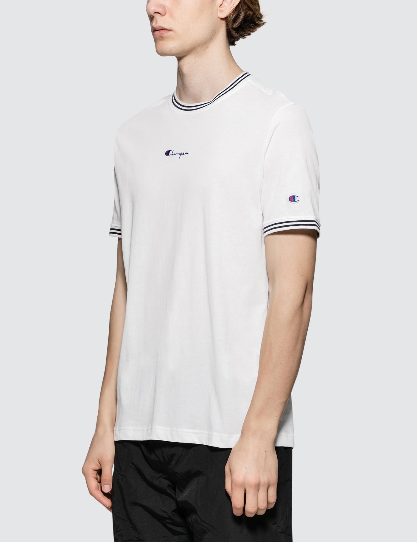 7c24ec76331a7a Lyst - Champion Rib Neckline S s T-shirt in Black for Men