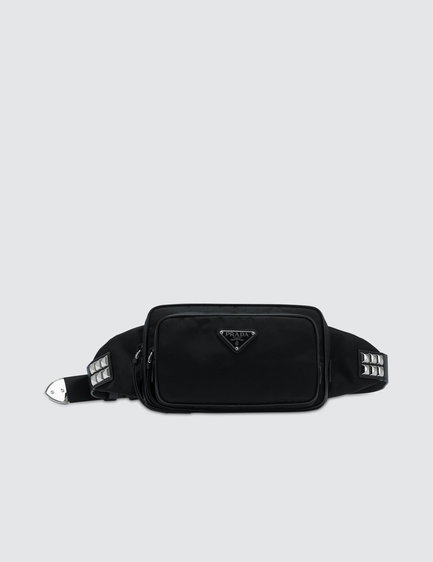 3c3503d8f994 Prada Nylon Studded Belt Bag in Black - Lyst