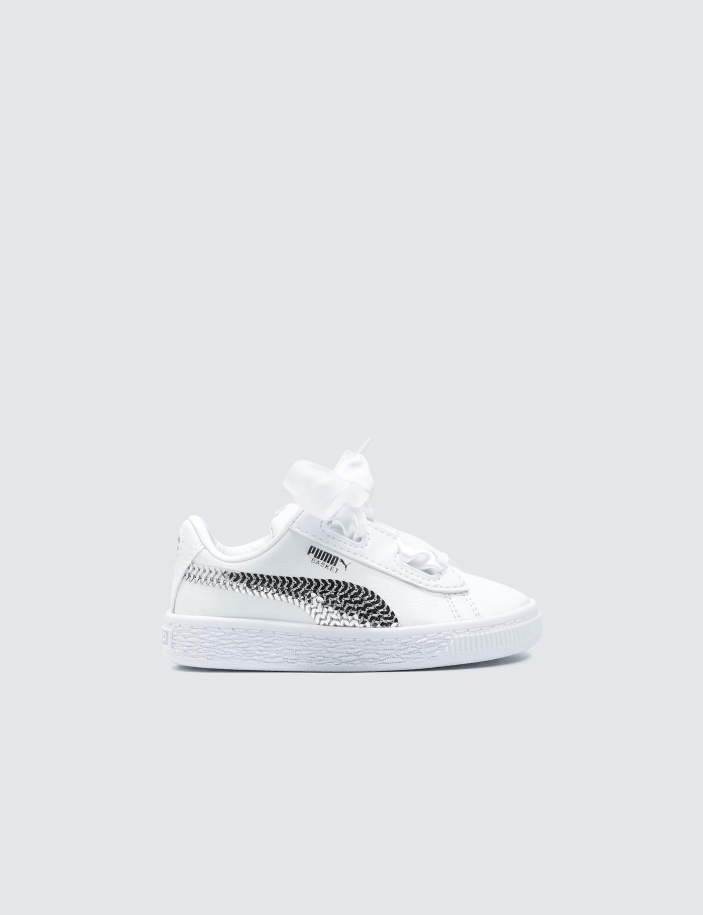 b144ce9c16e Lyst - PUMA Basket Heart Bling Infant in White - Save 10%