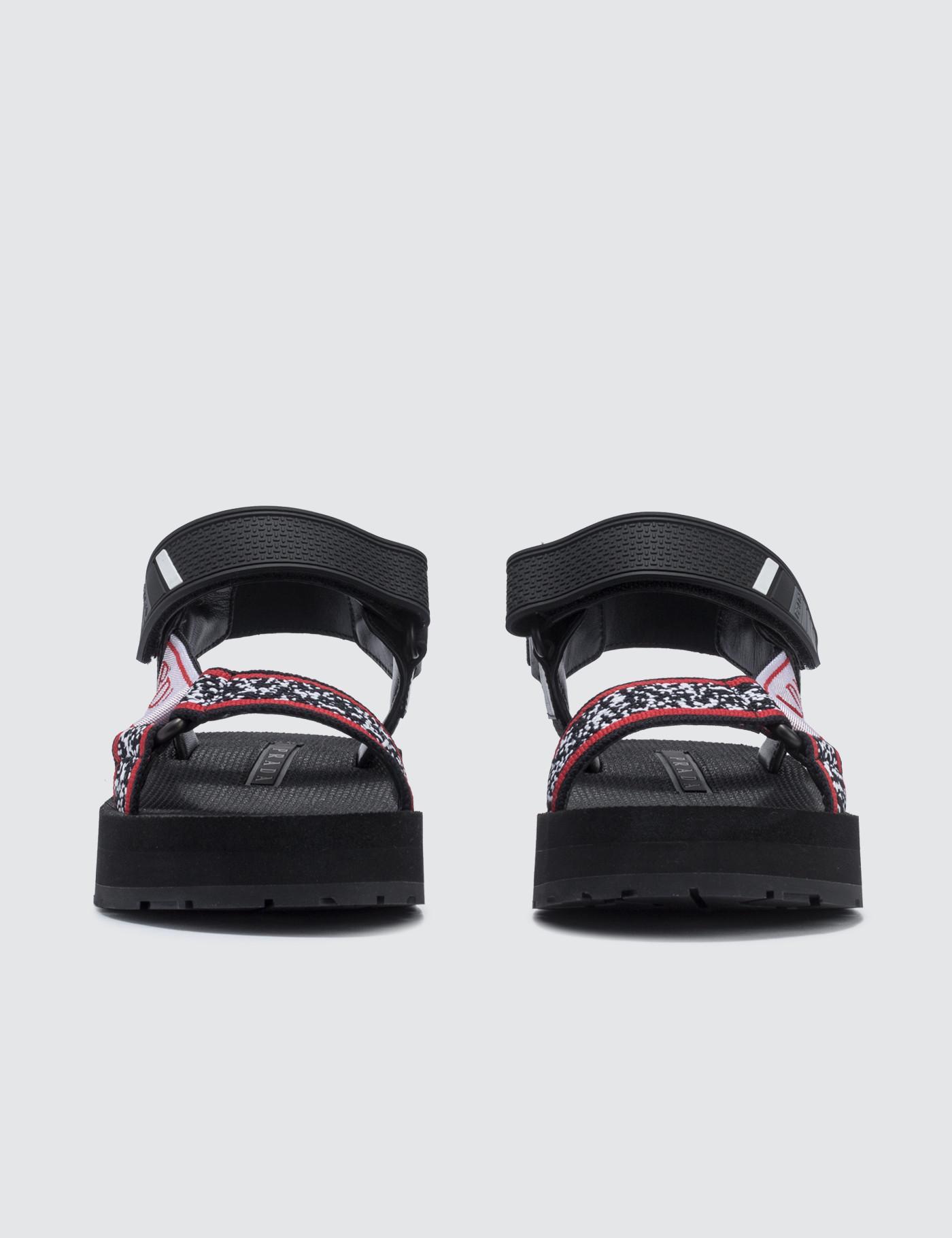 1be36660871 Lyst - Prada Jacquard Logo Sandals in Black