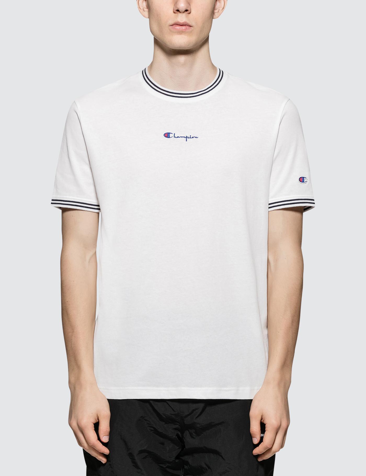 1fc509acceccf6 Champion - Black Rib Neckline S s T-shirt for Men - Lyst. View fullscreen