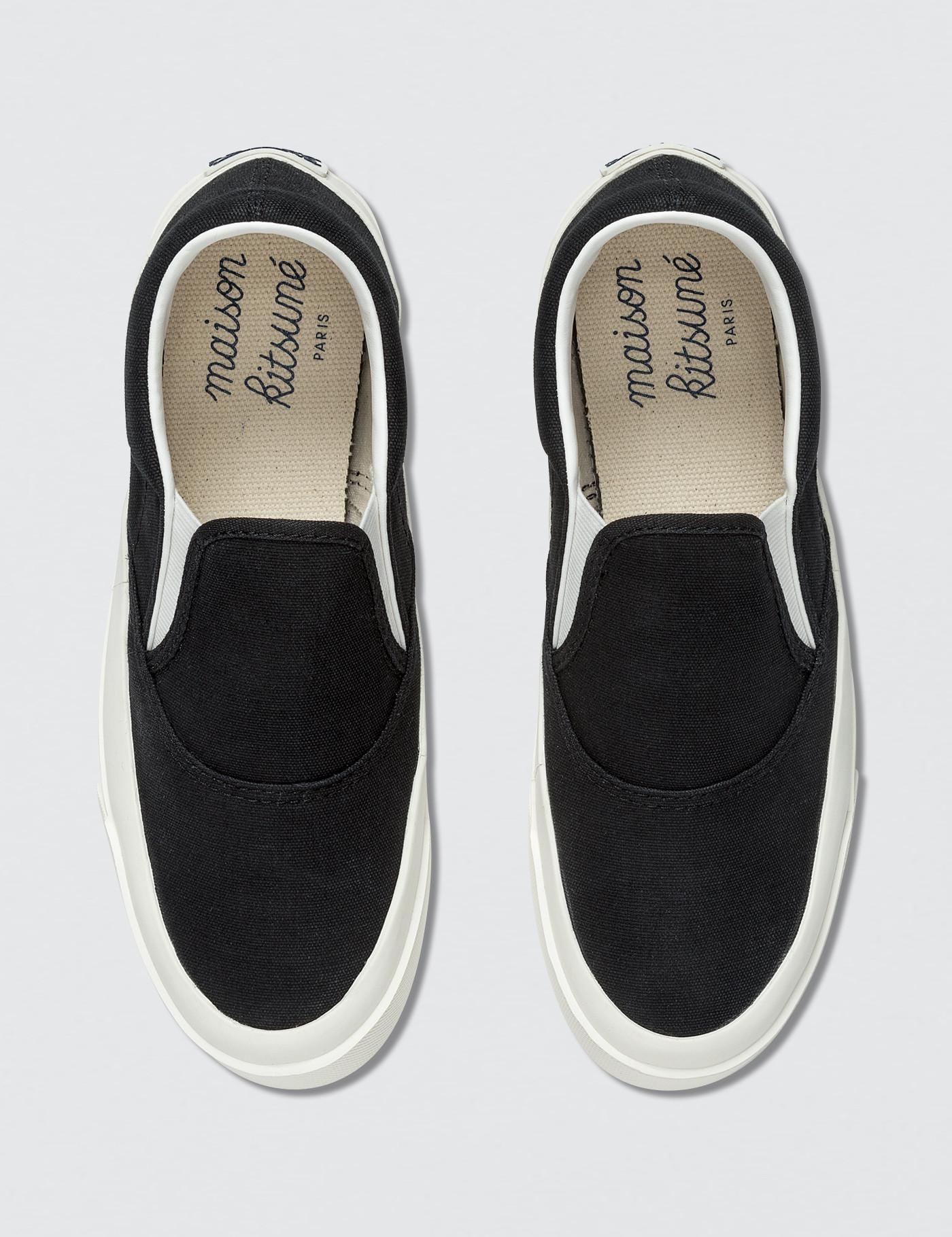 factory price b7eed 66eb0 maison-kitsune-Black-Par-Rec-Slip-on-Sneaker.jpeg