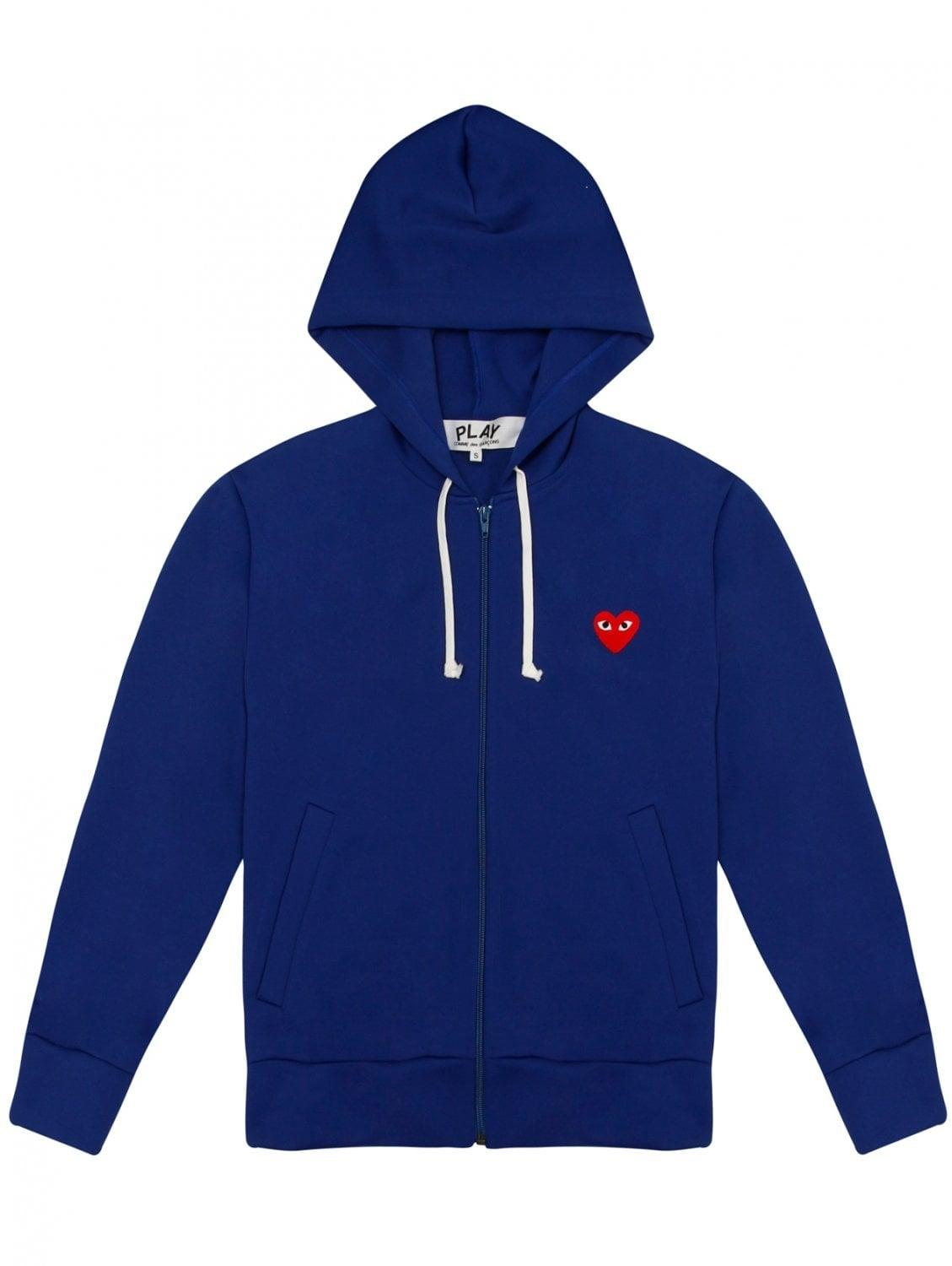 comme des gar ons play womens red heart zip hoodie blue in. Black Bedroom Furniture Sets. Home Design Ideas