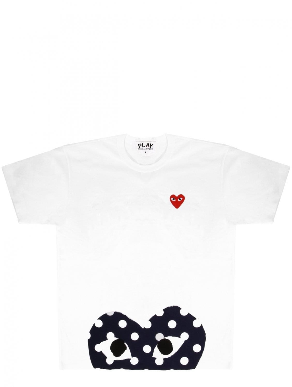cc8d2fe8488e Comme des Garçons Play Mens Half Polkadot Red Heart T-shirt White in ...