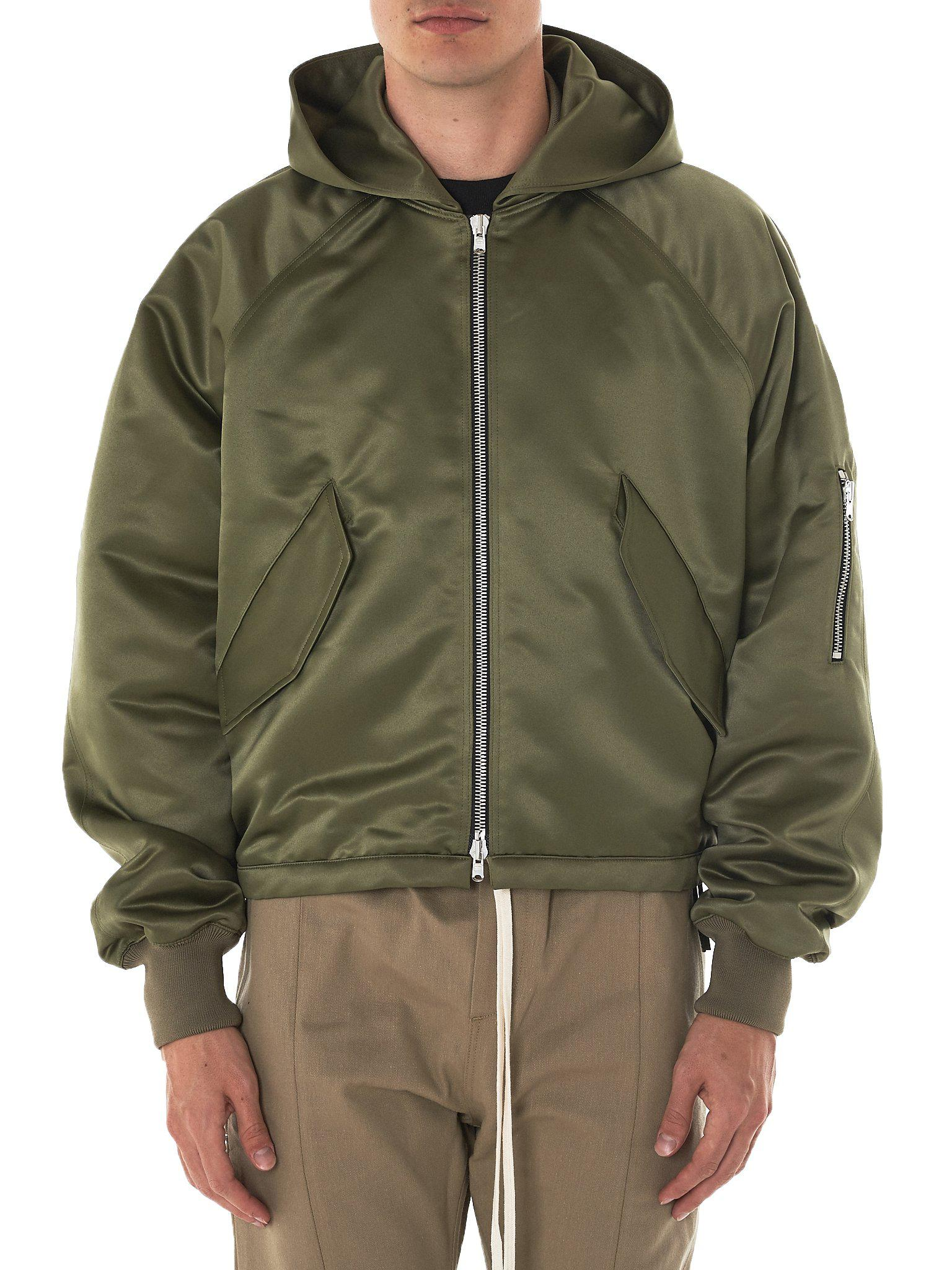 Lyst Fear Of God Hooded Satin Bomber Jacket In Green For Men