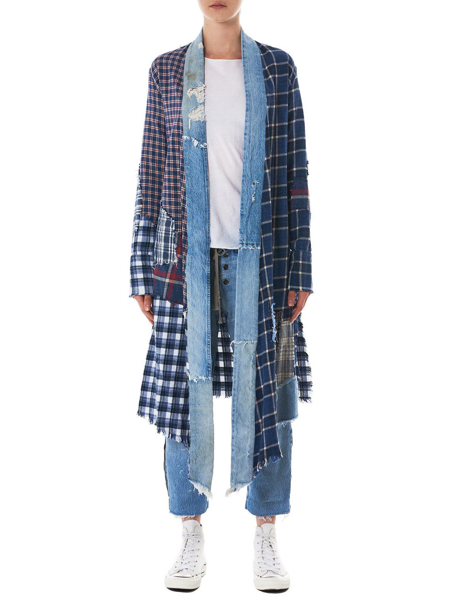 Vintage Lyst In Patchwork Greg Denim Lauren Coat X Kimono Plaid Blue zVUMqpS