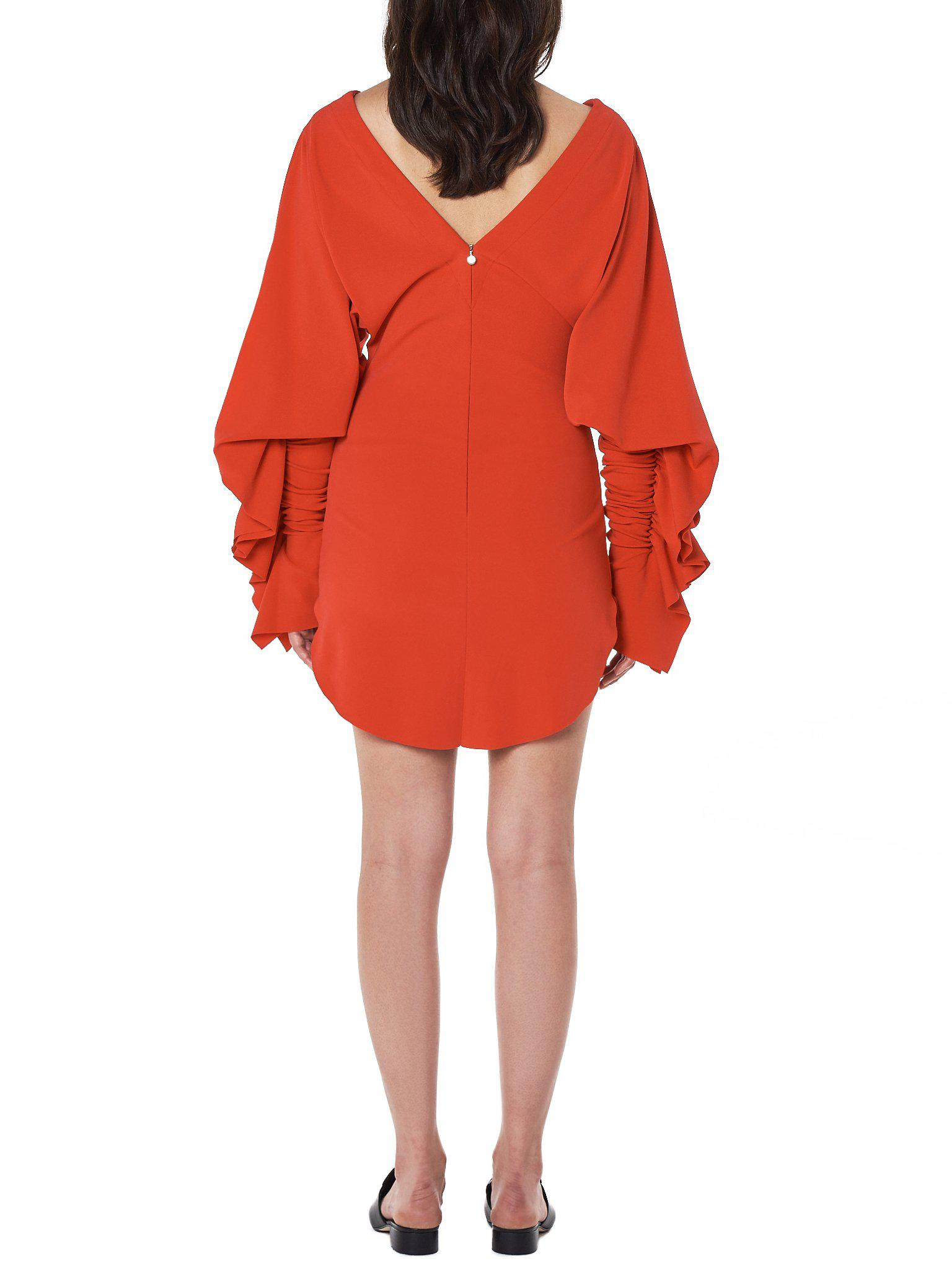 Lyst - Paula Knorr Ruched Sleeve Dress in Red 49c30be62