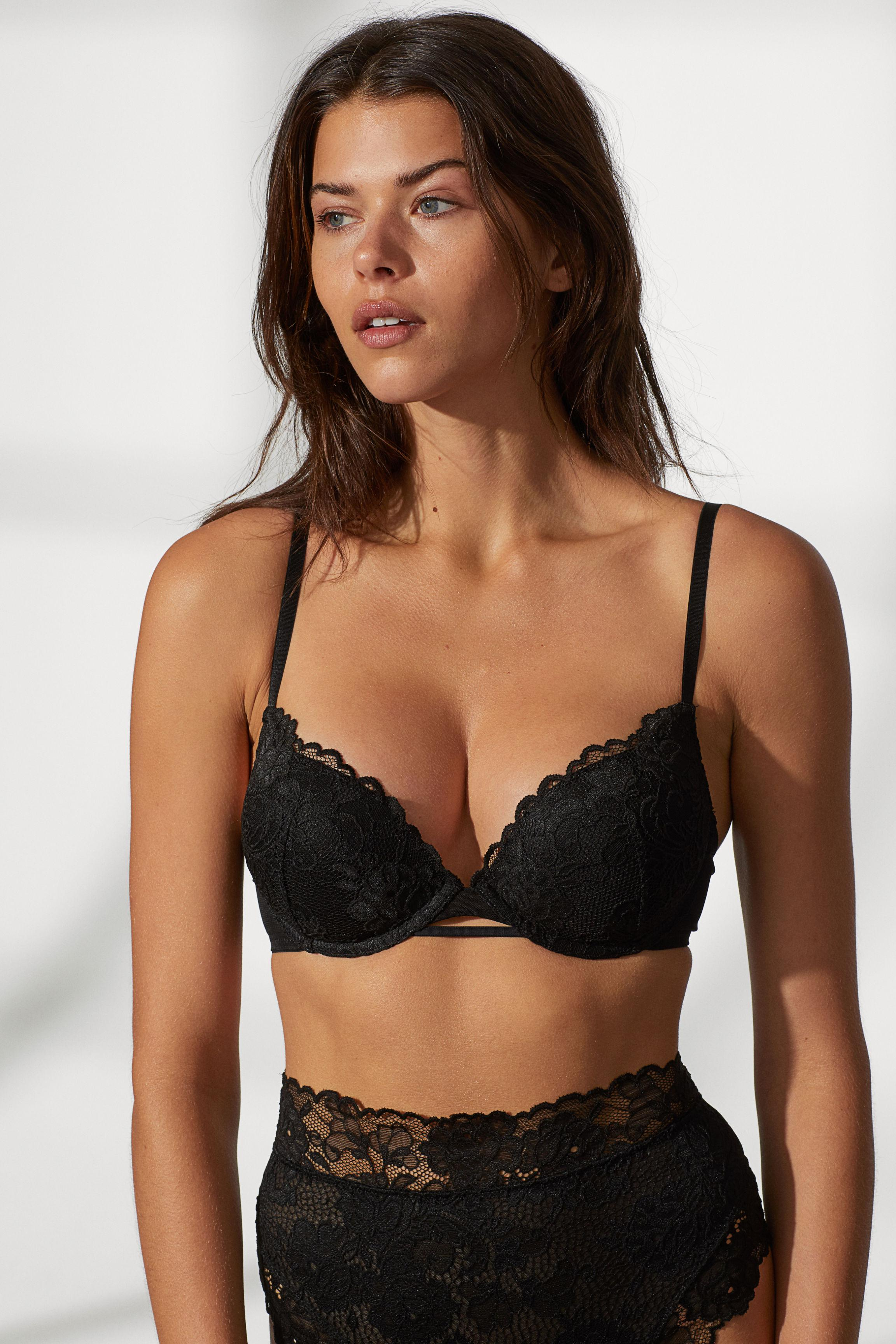 340d48a1446ff Lyst - H M Super Push-up Lace Bra in Black