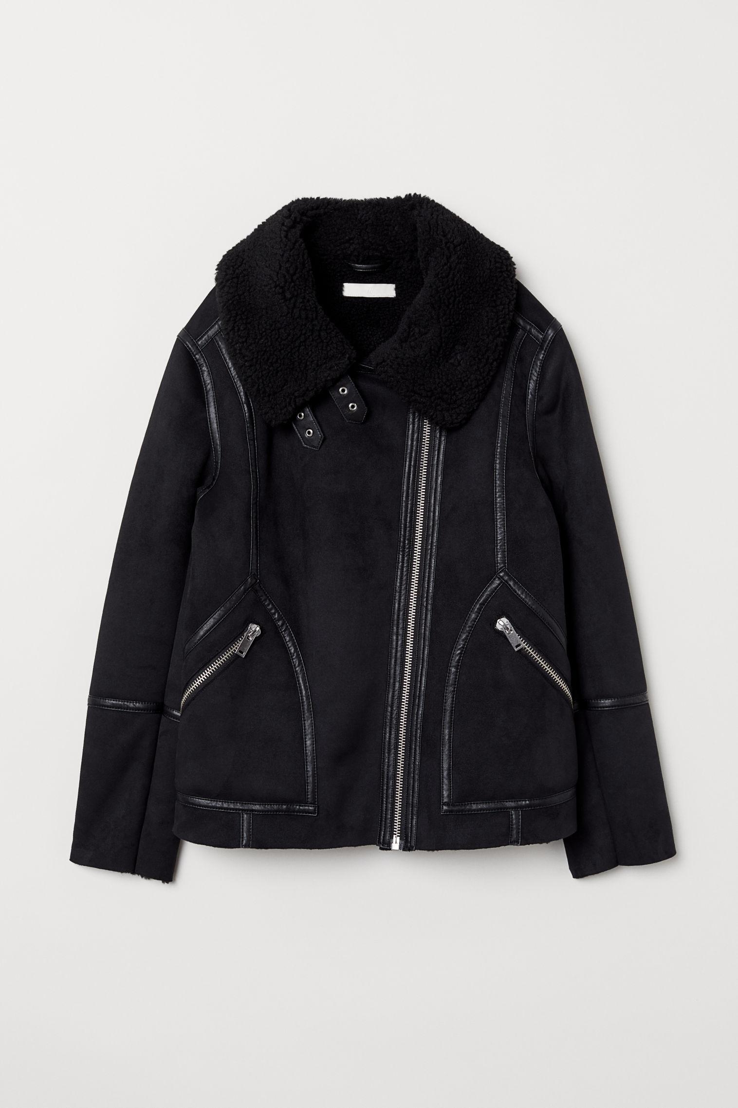 H Amp M Pile Lined Biker Jacket In Black Lyst