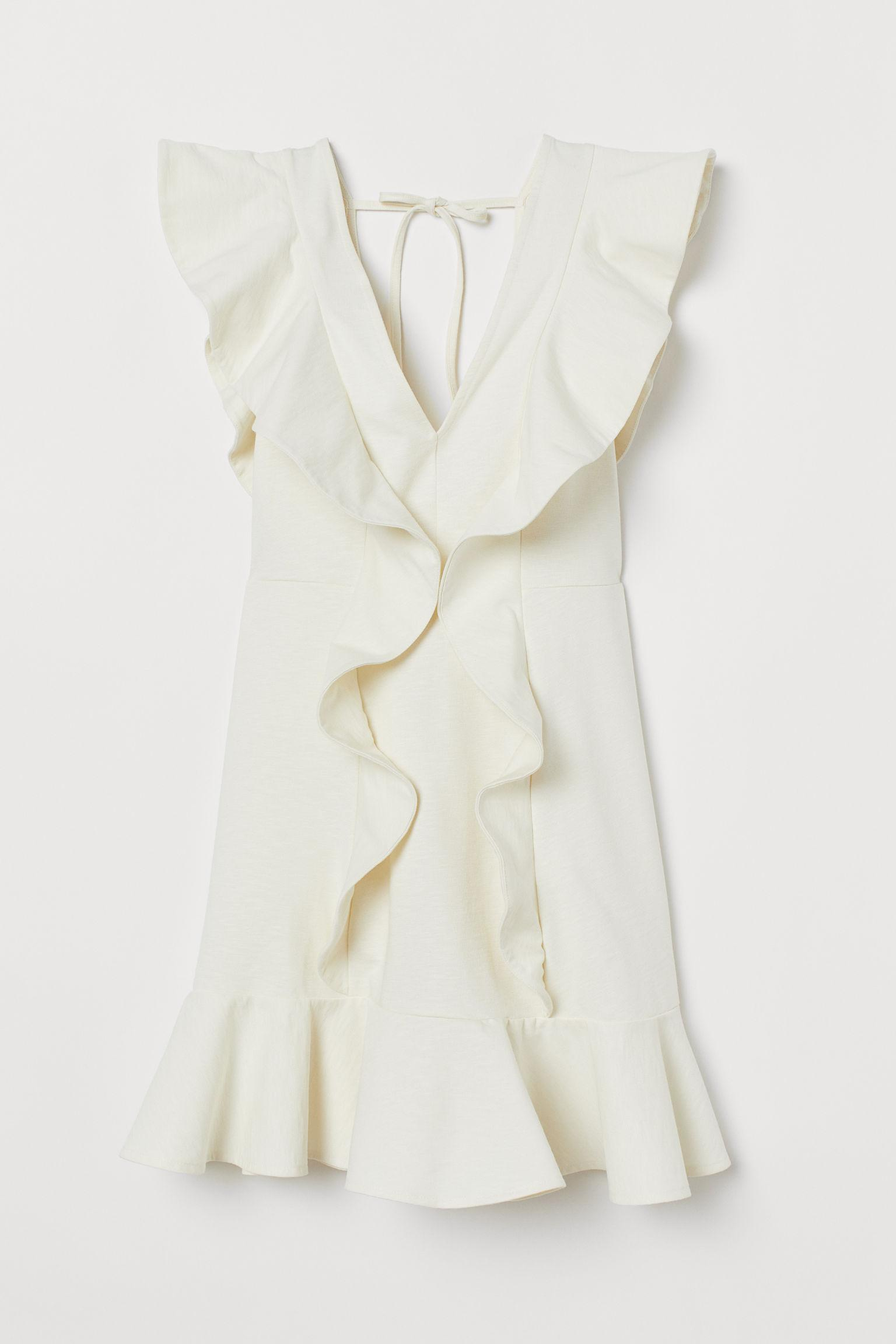9af679d463f H&M Short Flounced Dress in White - Lyst