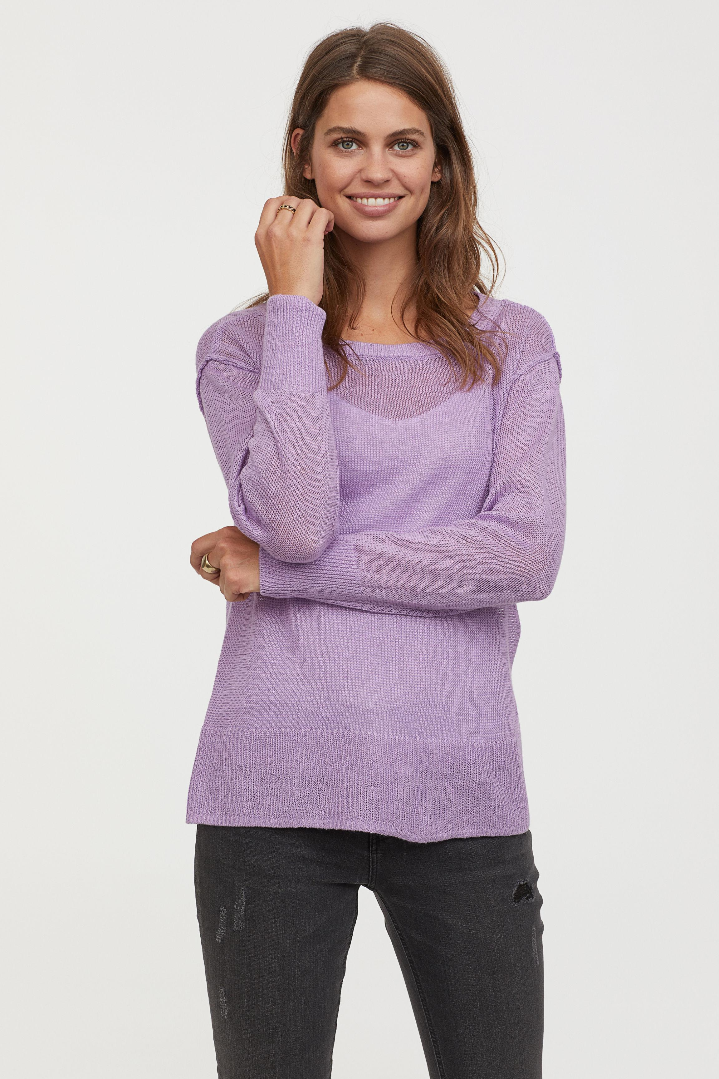 53effa37871 Lyst - H M Mama Knitted Nursing Jumper in Purple